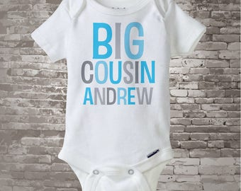 Big Cousin Onesie, Personalized Big CousinShirt, Blue and Grey Text Infant, Toddler or Youth sizes t-shirt (12182013c1)