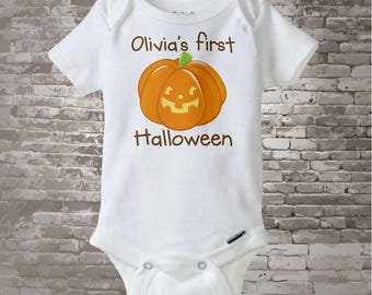 Baby One Piece outfit Personalized Baby's first Halloween Onesie or Shirt, 1st Halloween Shirt or Onesie, Cute Pumpkin Shirt 04252014g