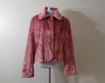 Vintage Esprit Outerwear Rosy Pink Persian Style Plush Faux Fur Hook Front Jacket Sz L