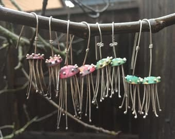 Jellyfish Earrings - Green Patina - Copper and Sterling Silver