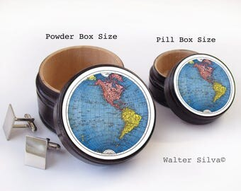 Western Hemisphere Pill Box - World Map Vitamin Box - World Map Wood Ring Box - North America Map theme Box - World Traveler - Cufflinks Box
