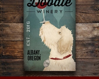 FREE CUSTOMIZATION Goldendoodle Labradoodle Wine Cellars Vineyards Sign Gallery Wrapped Canvas Wall Art -  Ready-to-Hang
