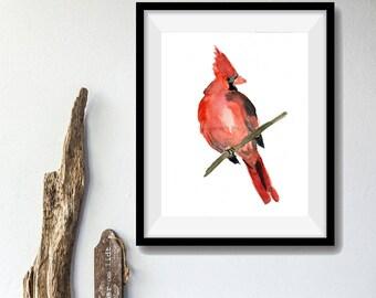 Art Print Red Cardinal, bird art, watercolor painting, Cardinal print,  NC state bird, Christmas art, Nursery art, nature art, wild life