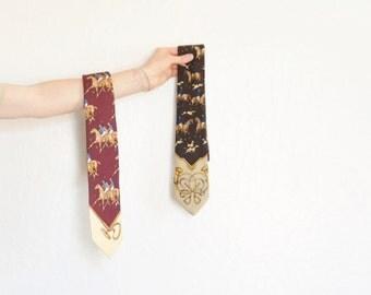 rare POLO jockey necktie set of two . preppy Ralph Lauren horse menswear .sale