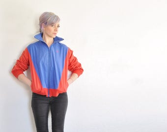 Oscar de la Renta track jacket . red blue color block athletic coat .medium.large