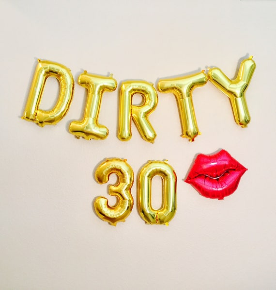 30 and flirty birthday party Thirty af balloons, dirty 30 party, dirty 30, 30th birthday party, 30, 30th bday,thirty and flirty,feeling flirty at 30,30th bday decoration from girlygifts07.
