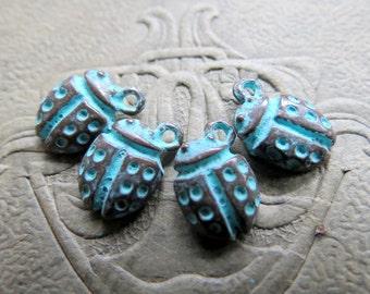 NEW Mykonos LADYBUG CHARMS . 10 mm . 5 pieces . Greek Charms & Pendants