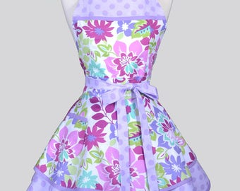 Ruffled Retro Pinup Apron , Pastel Spring Floral Lavender Womans Flirty Cute Retro Vintage Style Flirty Kitchen Apron to Personalize or Mono