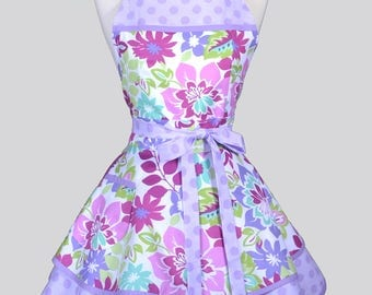 AVA Ruffled Retro Pinup Apron , Pastel Spring Floral Womans Flirty Cute Retro Vintage Style Flirty Kitchen Apron to Personalize or Monogram
