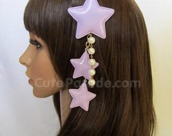 Lavender Fairy Kei Star Hair Clip/Brooch with White Pearls- Lolita Fairy Kei Decora Shooting Star Hair Accessory