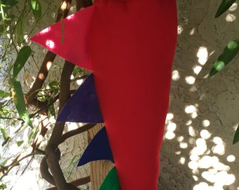 Red Dinosaur Tail with Reverse Rainbow Spikes
