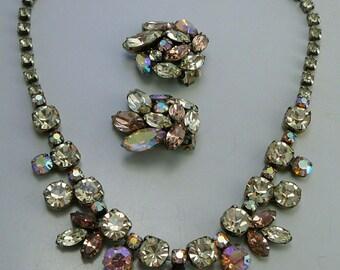 Regency Citrine Pink Topaz Rhinestone Necklace & Earrings Set