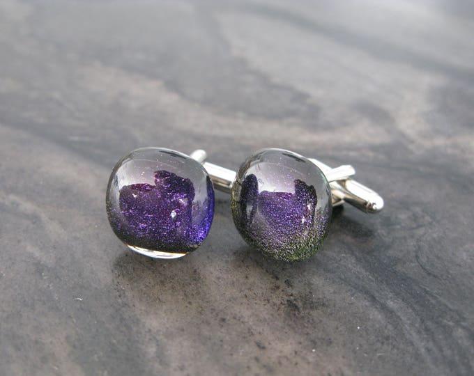 Wedding Cufflinks, Purple cufflinks, glass cufflinks, Cuff Links, Cufflink, Cuff Links, Cufflinks, Mens Accessories, groomsman gift