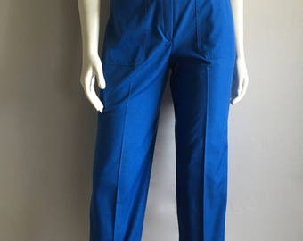 Vintage Women's 80's Blue Pants, High Waisted, Tapered Leg by Koret (S)
