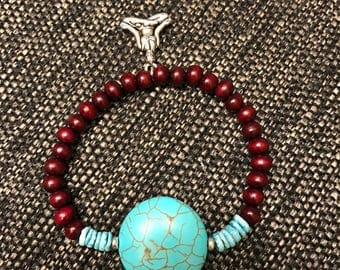 Chakra Jewelry - Turquoise and Rosewood Bracelet