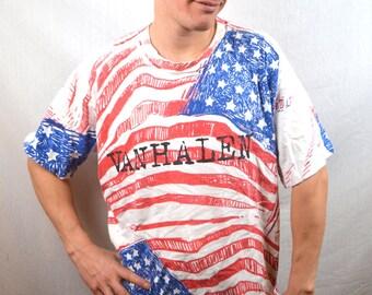 Vintage 90s Van Halen Tour All Over Print USA Red White Blue Flag Tshirt Tee Shirt - Kicking Ass in America
