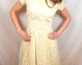 Vintage Lorrie Deb 50s 1950s Lace Debutante Wedding Dress Gown