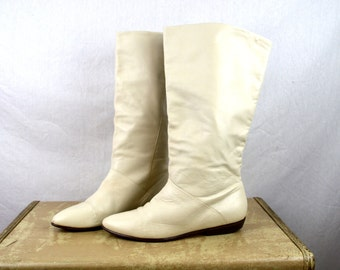 Vintage 80s White Tall Boots - Womens Size 8 1/2 - Made in Brazil