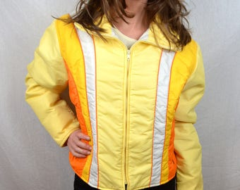 RARE Vintage 70s 1970 Yellow Orange Puffy Ski Jacket Coat - By Swing West