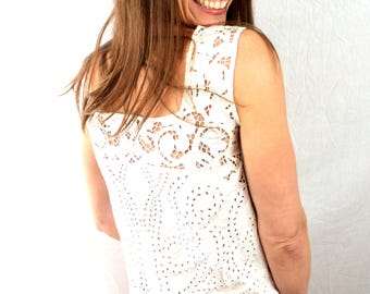 Vintage 90s Cutwork White Rayon Summer Top - Yazdi, Indonesia