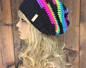 Crochet Slouch Beanie with Real Wood Button / DEEP WOODS / Northern Lights