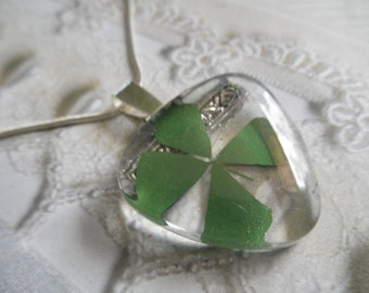 Real 4 Leaf Clover Glass Triangle Pendant-Lucky Me-Gifts Under 30-Rare & Unusual-Gifts Under 30-Symbolizes Love, Luck, Hope, Faith