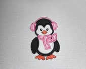 Free Shipping Ready to Ship Penguin Machine Embroidery Fabric iron on applique