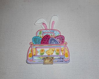 Free Shipping Ready To Ship Girly Easter Truck Machine Embroidery Iron on Applique