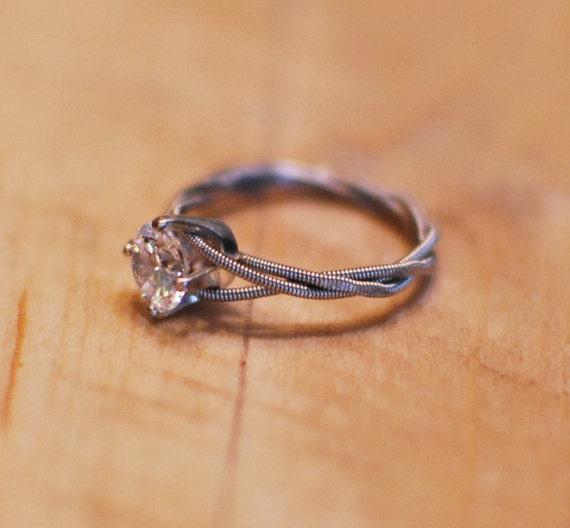 hammered engagement ring guitar string engagement ring. Black Bedroom Furniture Sets. Home Design Ideas