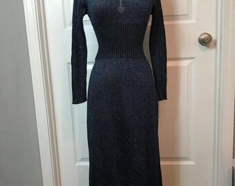 Vintage 1970s Blue Metallic Winjilli maxi Dress 7/8 cowl neck knit