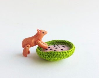 Miniature Pet Pig - dollhouse miniature artisan, baby mini pig, cute tiny animals, dollhouse dolls, 1 inch scale, tiny fruit pet bed