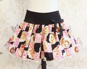Kawaii skirt ,donuts,bretzel, checks dots, clothing lolita, pastries, cute, ruffled stretch mini skirt, black pink skirt