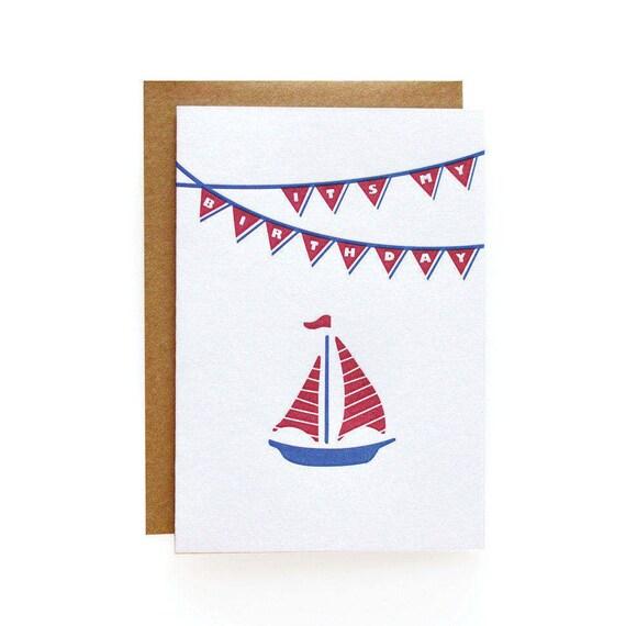 Letterpress Birthday Invitations, Sailboat - set of 8