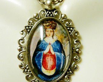 Pregnant Madonna and child necklace - AP26-255
