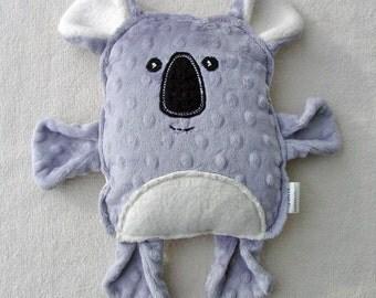 Koala Plush - Handmade Original Pattern - Grey Minky and Organic Cotton Sherpa - Wool Applique Face
