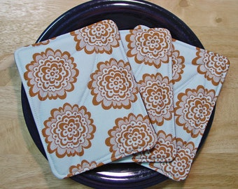 Quilted Pot Holders Hot Pads - Set Of Three - Spoonflower - Blue Brown - Insulated and Cotton Batting - Batik and Kona Cotton