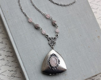 Rose Quartz Triangle Locket Necklace. Gemstone Jewelry