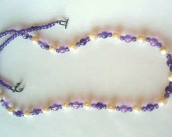 925  FW  Pearl Amethyst Necklace