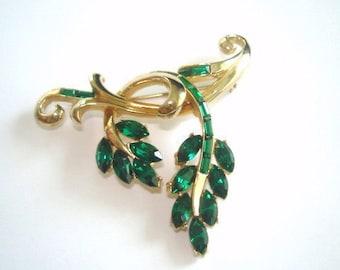 Signed Coro Flower Leaf  Green  Rhinestone Brooch Gold Tone