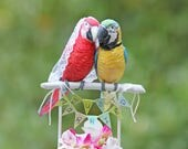 RESERVED for GIANNINA - Custom Green Wing and Blue and Gold Macaw Wedding Cake Topper