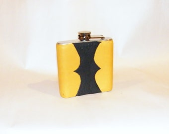 Golden and Black Leather Wrapped Flask