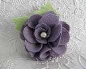 Felt Flower Brooch Purple Pin Jewelry Wool Felted Flowers