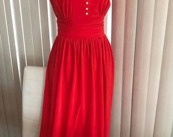 Gorgeous Vintage Hot Red 1970's Velour Gown with Rhinestone Accents -- Casino!  Size M-L