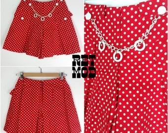 Mod Vintage 60s Red & White Polkadot Mini Skirt with Built-In Shorts (Skort) and GoGo Chain Embellishment!