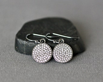 Pave Earrings - White Topaz Earrings - Pave Jewelry - Bridal Jewelry - Sparkling Earrings - Evening Jewelry - Special Occasion Jewelry