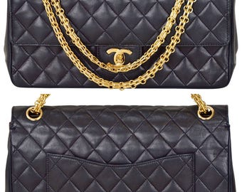 """CHANEL 10.5"""" Navy Quilted Lambskin Leather Double Flap Handbag Gold Chain Shoulder Bag"""
