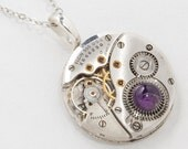Steampunk Necklace Vintage Elgin Watch Movement with Ruby Jewels, Genuine Amethyst in Steel Gear Pendant Jewelry by Steampunk Nation 3003