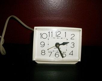 Vintage Working Westclox Acrylic Cube Alarm Clock