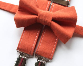 Little and Big Guy Bow tie and Suspender SET -Solid Orange -(Newborn-Adult)- Spring Easter Wedding