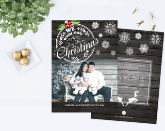 DIY Editable Rustic Christmas Card, Printable Family Photo Cards, Wood, Photoshop Template Holiday Greeting, Personalized Country Design